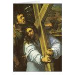 Jesús lleva la tarjeta de felicitación cruzada