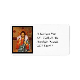 Jesús lleva un icono perdido del cordero etiquetas de dirección