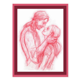 """Jesus looking at me"" postcard with Scripture"