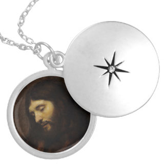 Jesus Looking Downward Silver Plated Necklace