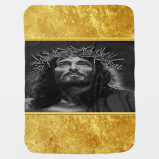 Jesus looking into heaven with a gold foil design baby blanket