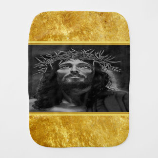 Jesus looking into heaven with a gold foil design burp cloth