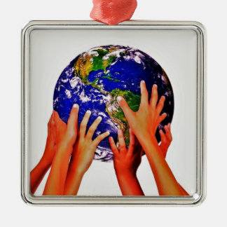 Jesus love for the whole world metal ornament