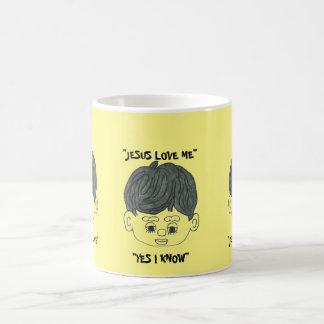 """JESUS LOVE ME YES I KNOW"" WITH CUTE FACE BOY COFFEE MUG"