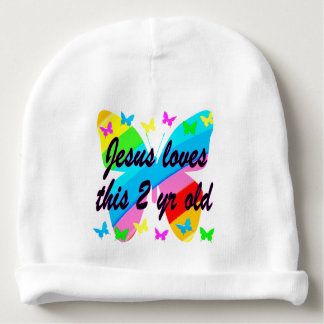 JESUS LOVE THIS 2 YR OLD BUTTERFLY DESIGN BABY BEANIE