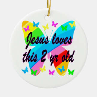JESUS LOVE THIS 2 YR OLD BUTTERFLY DESIGN CERAMIC ORNAMENT