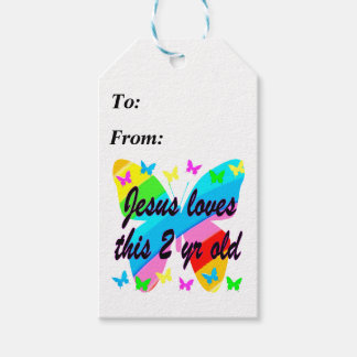JESUS LOVE THIS 2 YR OLD BUTTERFLY DESIGN GIFT TAGS