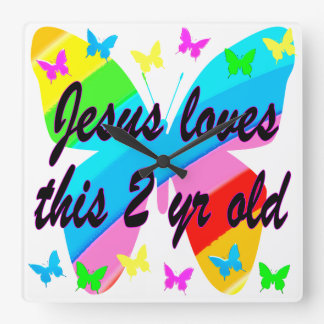 JESUS LOVE THIS 2 YR OLD BUTTERFLY DESIGN SQUARE WALL CLOCK