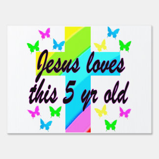 JESUS LOVE THIS 5 YEAR OLD CHRISTIAN 5TH BIRTHDAY LAWN SIGN