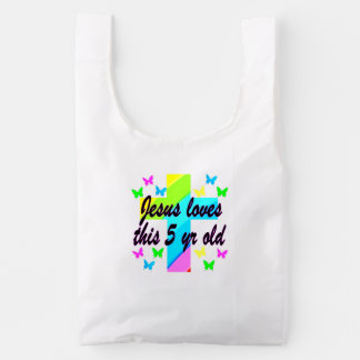 JESUS LOVE THIS 5 YEAR OLD CHRISTIAN 5TH BIRTHDAY REUSABLE BAG