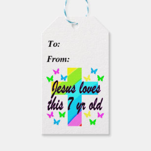 JESUS LOVE THIS 7 YEAR OLD 7TH BIRTHDAY DESIGN GIFT TAGS