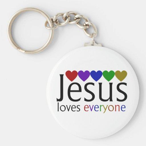 Jesus Loves Everyone Basic Round Button Keychain