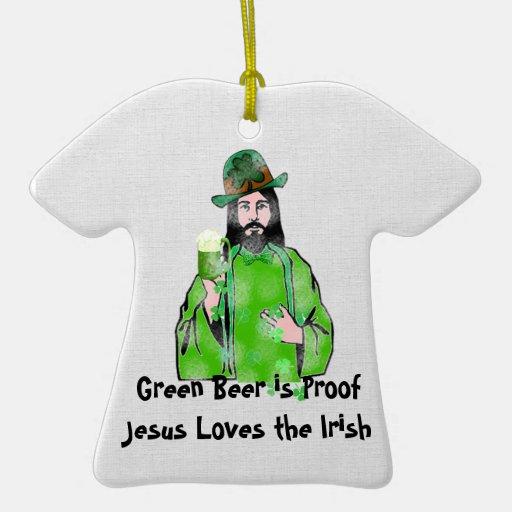 Jesus Loves Green Beer Christmas Ornament