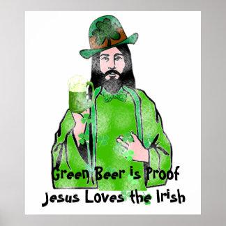Jesus Loves Green Beer Poster