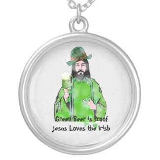 Jesus Loves Green Beer Round Pendant Necklace