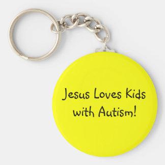 Jesus Loves Kids with Autism! Basic Round Button Keychain