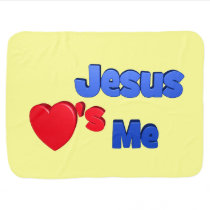 Jesus Loves Me 2-Sided Print Yellow Blanket