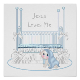 Jesus Loves Me Baby Boy Nursery Art 25x25 Print