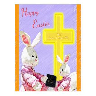 Jesus Loves Me Bunnies w/Bible and Cross Postcard