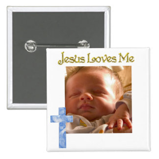 Jesus Loves me 2 Inch Square Button