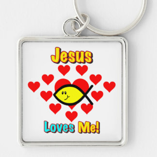 """Jesus Loves Me"" Christian Fish Key Chain"