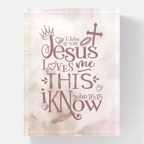 JESUS LOVES ME Christian Quote Pink Watercolor Paperweight