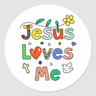 Jesus Loves Me Classic Round Sticker
