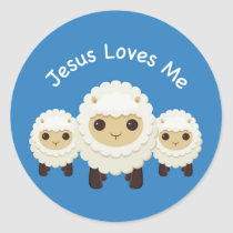 Jesus Loves Me Cross shepherd sheep Blue Sticker