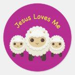 Jesus Loves Me Cross shepherd sheep Sticker Round Sticker