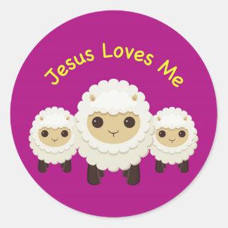 Jesus Loves Me Cross shepherd sheep Sticker