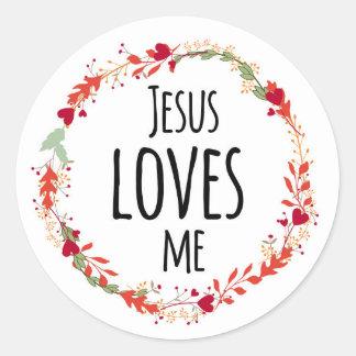 Jesus Loves Me Cross Wreath Floral Sticker