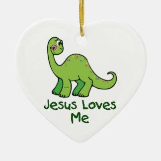Jesus Loves Me Dino Ceramic Ornament