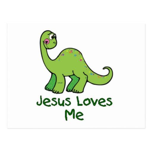 Jesus Loves Me Dino Postcard
