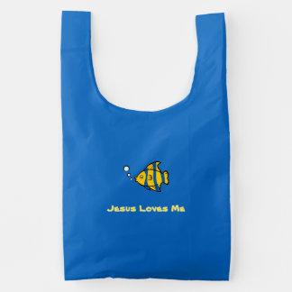 Jesus Loves Me Fish Reusable Bag