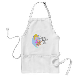 Jesus loves me girl with bear adult apron