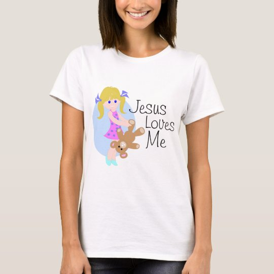 Jesus loves me girl with bear T-Shirt