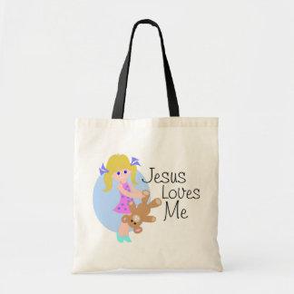 Jesus loves me girl with bear tote bag