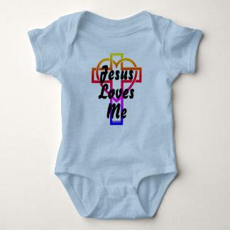 Jesus Loves Me Heart and Crosses Baby Bodysuit