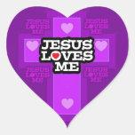 Jesus Loves Me. Heart Sticker