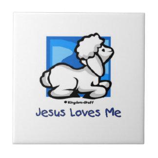 Jesus Loves Me Lamb Small Square Tile