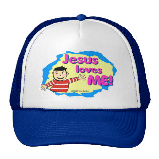 Jesus loves me little boy Christian design Trucker Hat