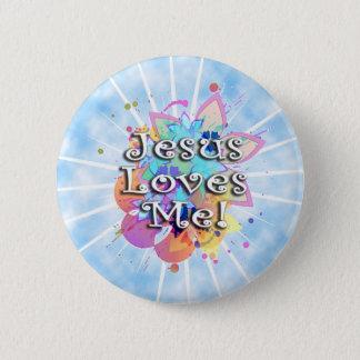 Jesus Loves Me, Pastel Watercolor Button