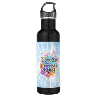 Jesus Loves Me, Pastel Watercolor 24oz Water Bottle