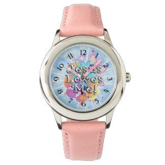 Jesus Loves Me, Pastel Watercolor Wristwatch