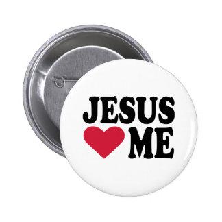 Jesus loves me pinback button