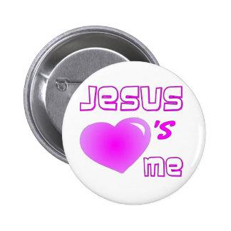 Jesus Loves Me Pink Heart Design 2 Inch Round Button