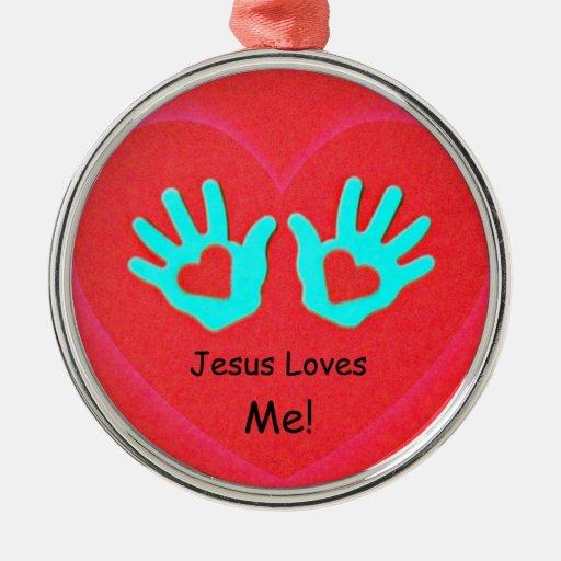Jesus Loves Me! Round Metal Christmas Ornament