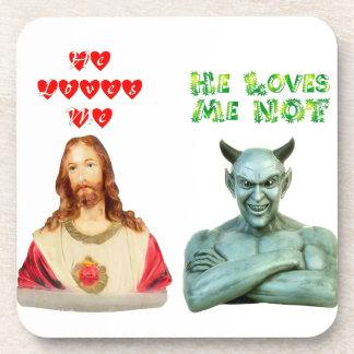 Jesus Loves Me satan loves me not Drink Coasters