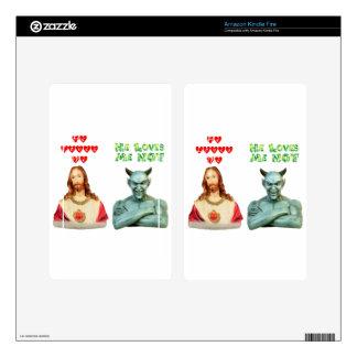Jesus Loves Me satan loves me not Kindle Fire Decal