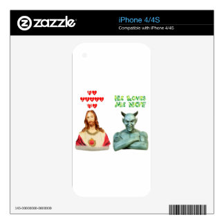 Jesus Loves Me satan loves me not Decals For The iPhone 4S